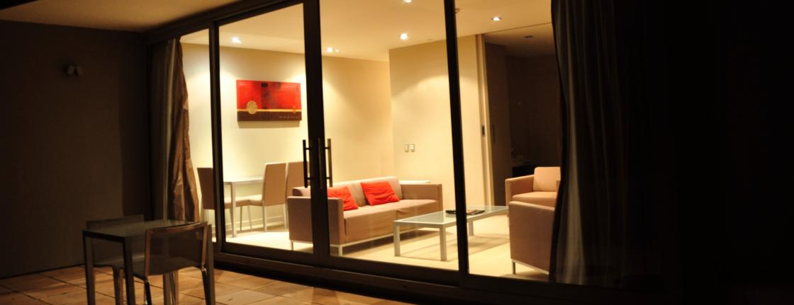 Dining Lounge Night One Two Bedroom Highview Apartments - Queenstown Luxury Accommodation